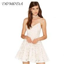 DOMODA 2017 Sexy Cami Strap Mini Dresses White Casual A-Line Lace Contrast Vestidos Elegant V-Neck Sweet Chic Dress Women