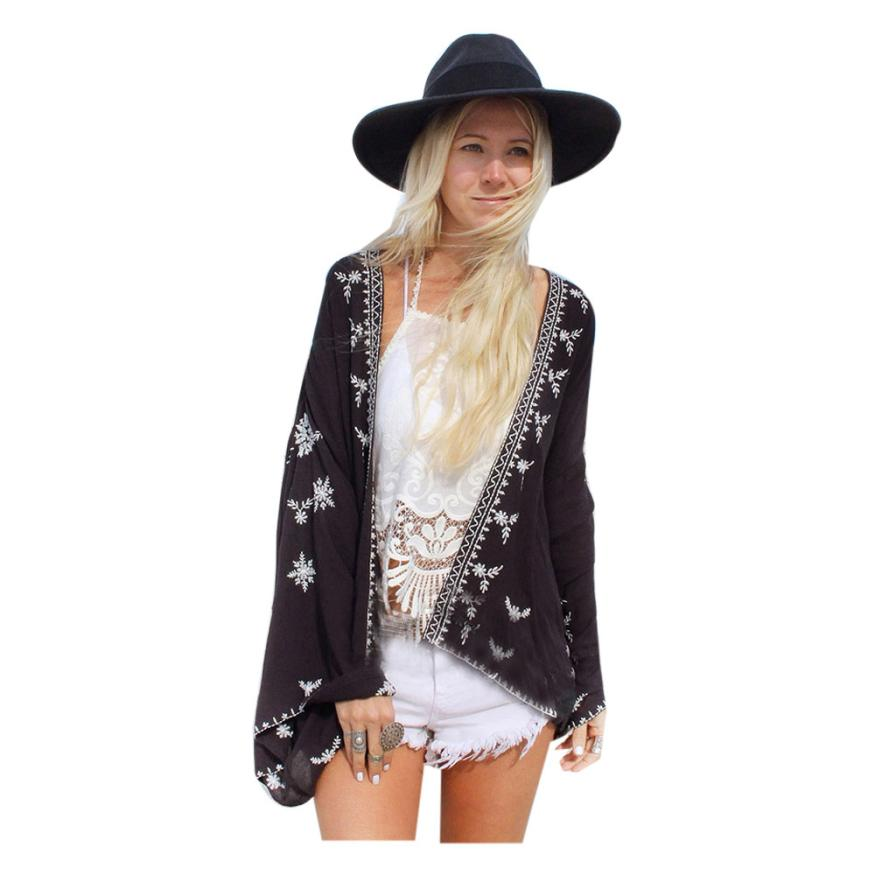 Summer Kimono Cardigan Women Fashion Floral Printed Shirt Womens Chiffon Blouse Lady Loose Casual Tops Shawl Sunscreen #YL floral chiffon dress long sleeve