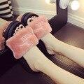 2017 Осенью новый женщина вьетнамки туфли на платформе меховые тапочки причинная женщина сандалии девушки розовые меховые шлепанцы плоские тапочки женщина