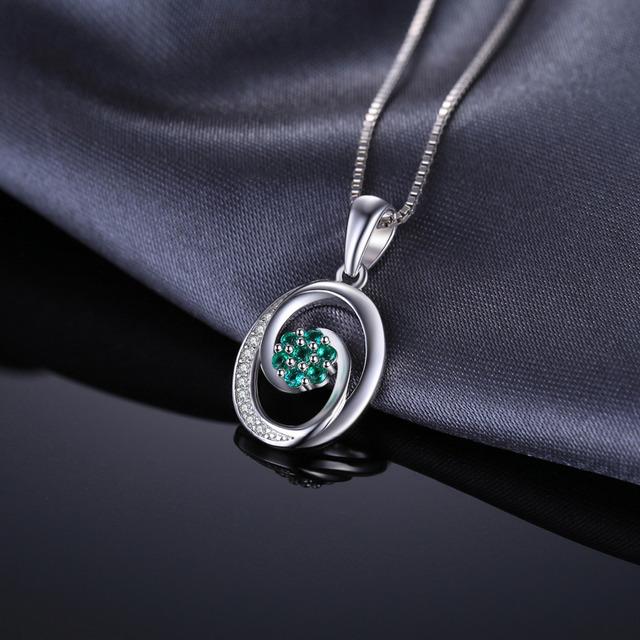 Strieborný náhrdelník ZELENÝ KVET Silver Pendant Necklace GREEN FLOWER