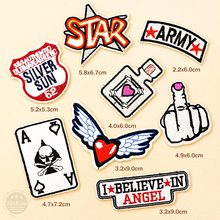 SILVER SUN ARMY WING HAND Patches Badges Embroidery DIY Cloth Patch Badge Applique Clothes Clothing Sewing Supplies Decorative(China)