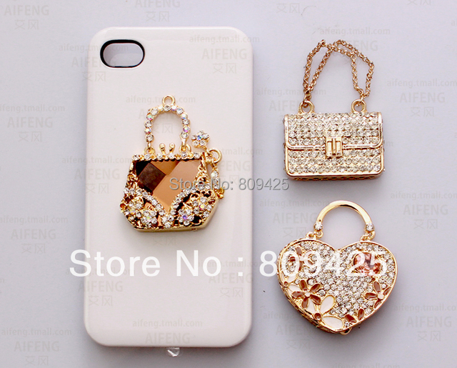 2014 Free Shipping!min.order Is $15 (mix Order) Crystal Perfume Bag Sticker Cell Phone Sticker,phone Case Decorations 6pcs Dy294