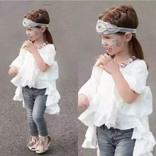 Ins Hot Sell Toddler Sweet Kids Ruffles Tops Asymmetric Cute Bell Sleeve Blouse F. AUSPICE KID Tops