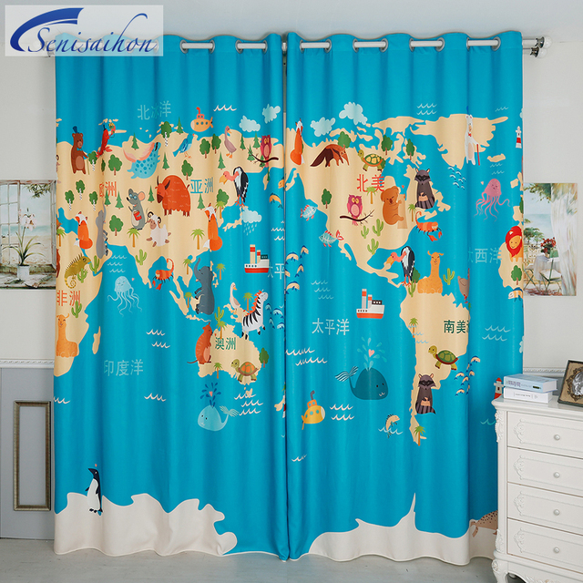 Senisaihon Europe 3d Blackout Curtains Blue World Map Pattern
