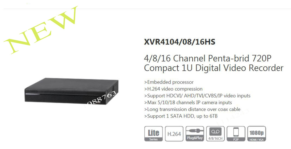 DAHUA NEW Product 4/8/16 Channel Penta-brid 720P Compact 1U Digital Video Recorder Without Logo XVR4104HS/XVR4108HS/XVR4116HS