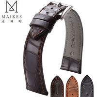 MAIKES Good Quality Watchbands Genuine Leather Watch Band Strap 18 19 20 22mm Brown Watches Bracelet