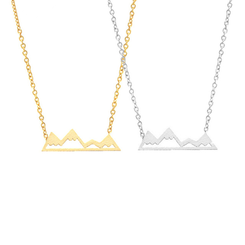Choker Dainty Snowy Mountain Top Necklaces for Women Handmade Gold Silver Pendant Hiking Outdoor Travel Jewelry Bridesmaid Gift