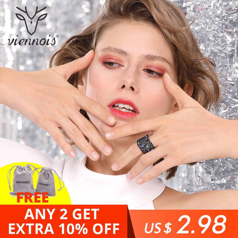 Viennois Wide Gold Color Finger Multicoloured Rhinestones Paved Cocktail Ring Size 6 7 8 9 Rings For Women Fashion Ring 2019