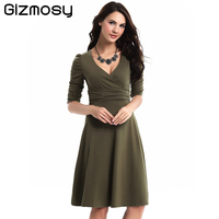 Fashion Multi Colored Mid Sleeve Loose Expansion Mild Dresses Women Vestido Occupation Society Deep V Neck