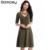Moda multi color de mitad de la manga floja expansión dulce vestidos de las mujeres vestido ocupación sociedad profundo escote en v gran swing dress bn036