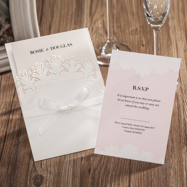 50PCS White Laser Cut Wedding Invitations with RSVP Cards Bowknot