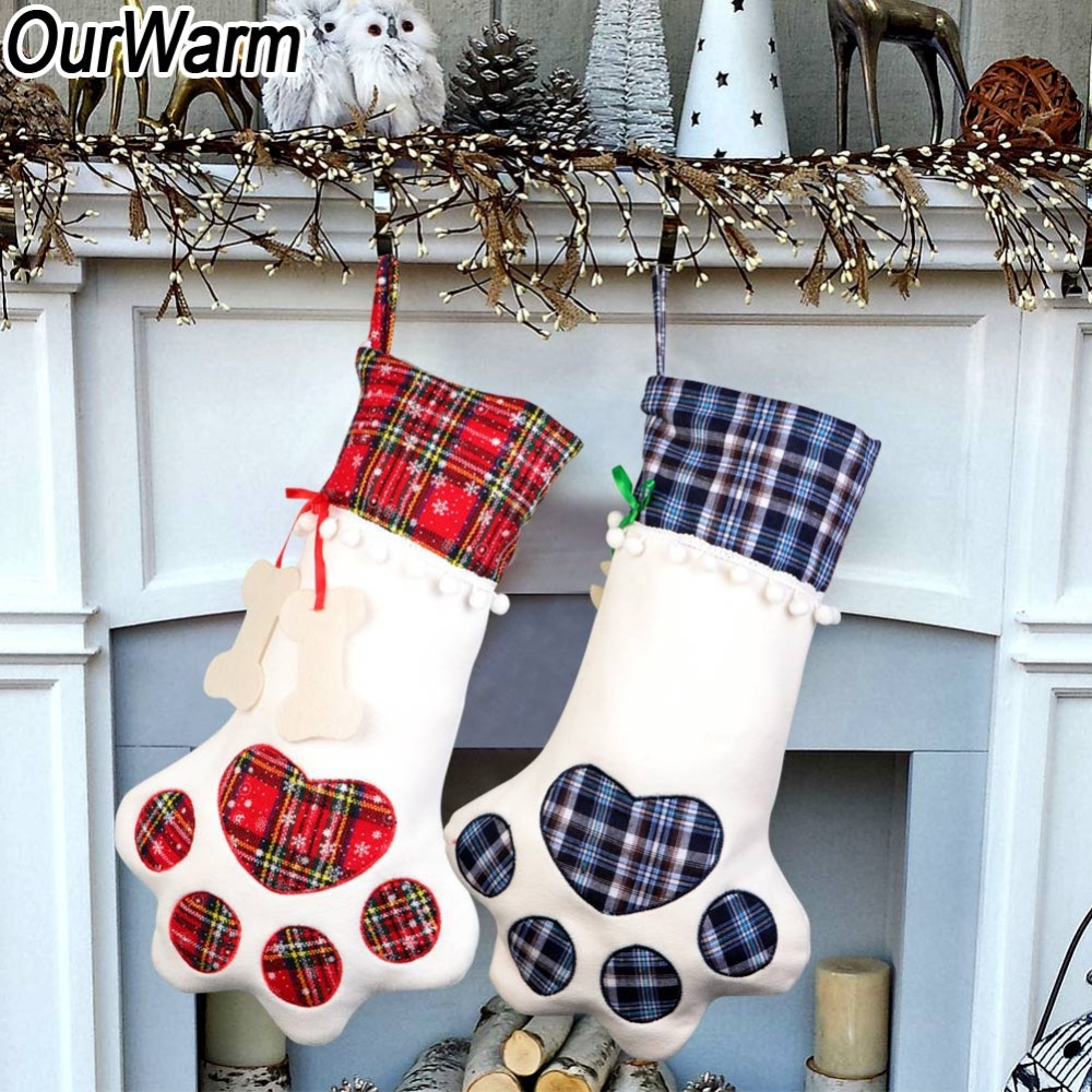 Christmas Stocking Holder.Us 3 4 30 Off Ourwarm Pet Paw Christmas Stocking Christmas Stocking Holder Gift Kids Candy Bag Christmas Tree Ornaments Xmas Noel Decoration In