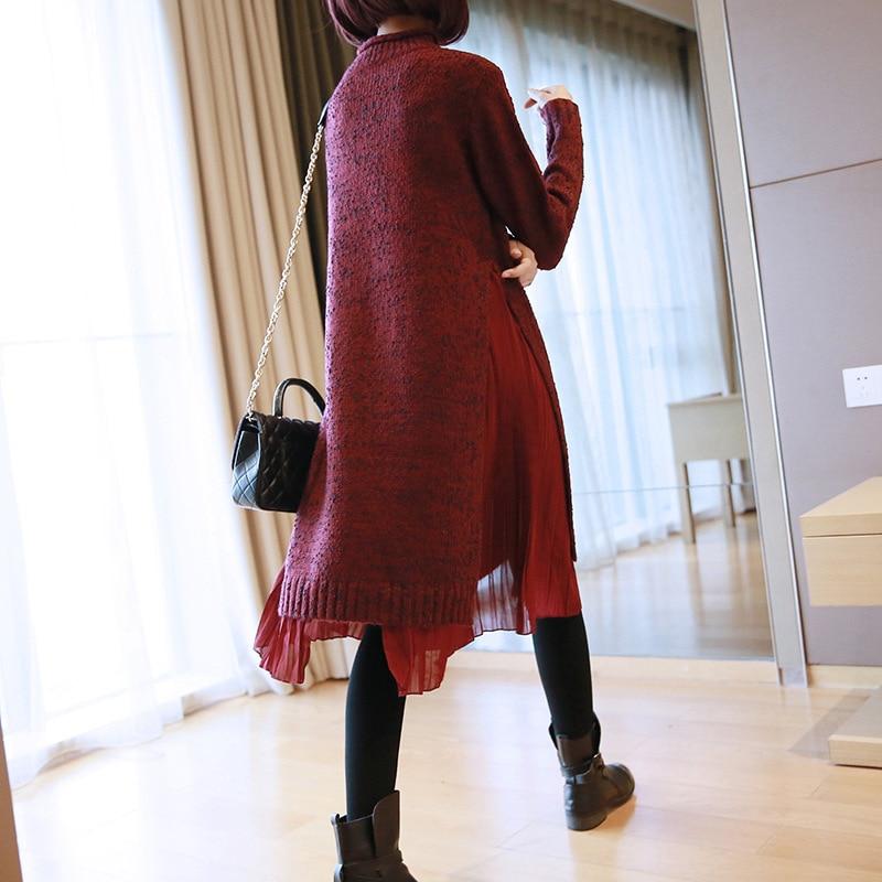 Blue Da European Cucitura 2018 Inverno Di Lavoro Red Primavera Vestito Orlo wine Abiti Dolcevita Vestiti Chiffon A Ac6522 Maglia Fashion Asymsay Donne pH65wggxq
