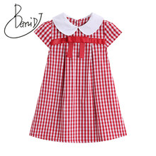 3-7T Kids Girls Summer check Plaid Princess girl summer dress Party Pageant Dresses vestido infantil Short Children girl clothes(China)