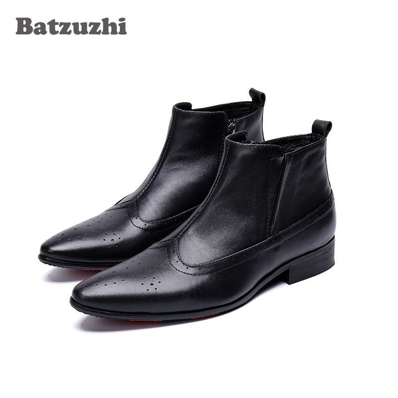 Batzuzhi Luxury Autumn Men Boots Pointed Toe Black Soft Genuine Leather Boots Men Ankle Short Business botas hombre, Big Sizes men s construction steel toe boots genuine leather short engineer insulated and water resistant wheat nubuck shoes sizes 7 13