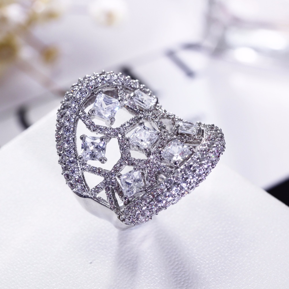 Engagement Rings Sale Price: Discounted Low Prices! Hollow Design Square Shape Rings