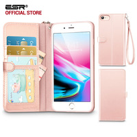 Case For Iphone 8 8 Plus ESR PU Leather Flip Wallet Cover With Strap Card Slots