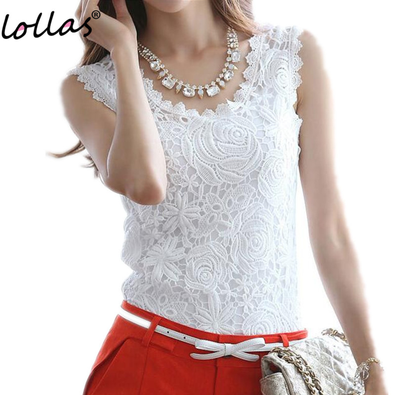 0dc10b39b8b lollas Plus Size New Women Lace Vintage Sleeveless Blouse White Black  Elegant Crochet Casual Shirts Tops S M L XL 2XL 3XL-in Blouses   Shirts  from Women s ...