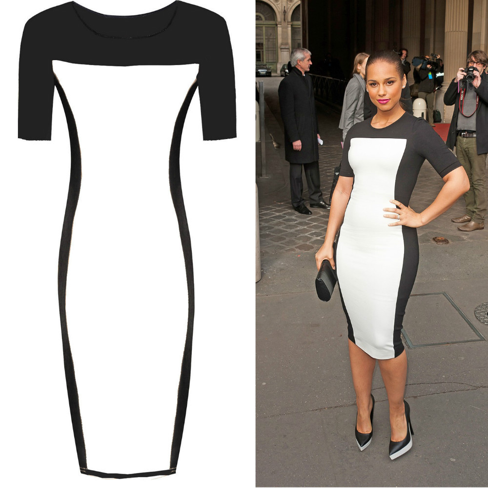 Black and white midi bodycon dress