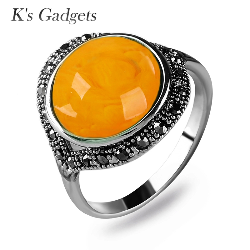 2017 NEW Yellow Natural Stone Ring Best Friends Birthday Gifts Vintage  Retro Crystal Rhinestone Silver Plated 4c348843ba94