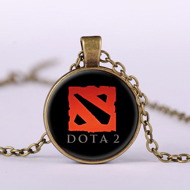 2017 New Dota 2 Glass Necklace Collares Glass game necklaces Statement Necklace Pendant For Men Women Gif