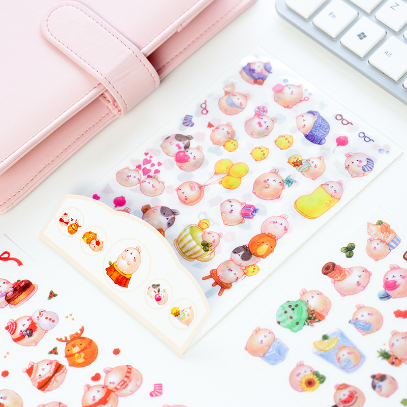 6 sheets DIY Colorful Rabbits kawaii Stickers Diary Planner Journal Note Diary Paper Scrapbooking Albums PhotoTag 6 sheets pack kawaii cute drawing market planner paper diary deco stickers pvc transparent scrapbooking school kids stationery