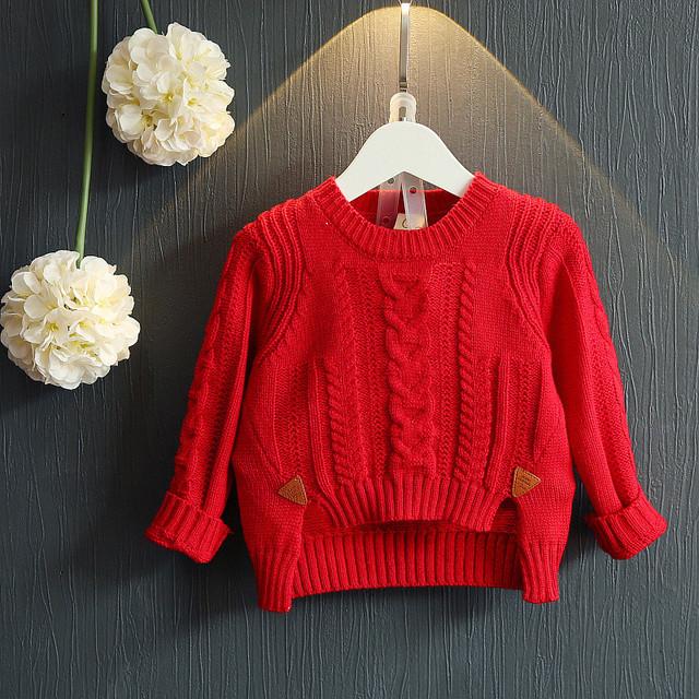 2016 otoño y el invierno nuevo babys chica de moda de cuello redondo de manga larga giro suéter corto para babys muchachas lindas ropa