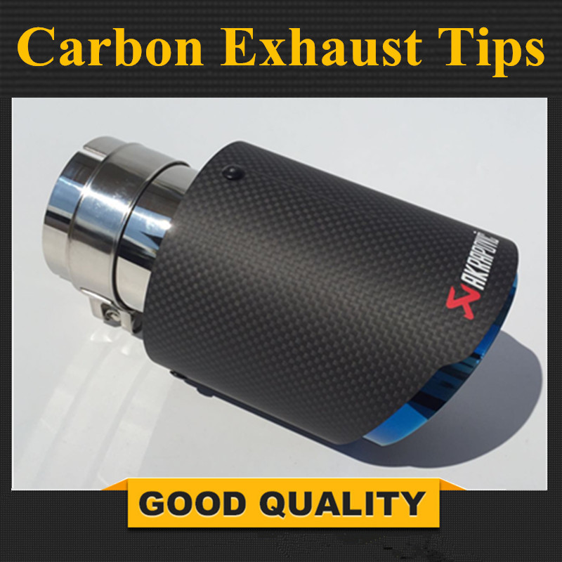 1 Pcs Newest Style Carbon fiber +Blue stainless steel universal exhaust system end pipe+black carbon Akrapovic car exhaust tip universal carbon fiber car keyhole decoration ring for volkswagen series silver black blue