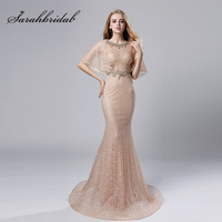 2018 Fashion Half Batwing Sleeve Evening Dresses Blush Long Lace with Beading O Neck Prom Dress Elegant Women Party Gowns OL534