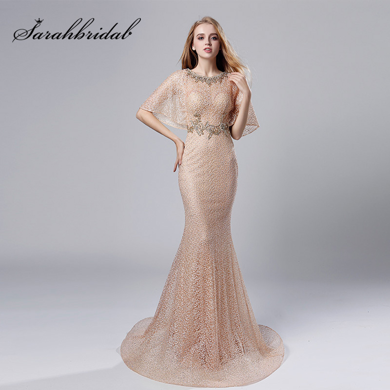 2019 Fashion Half Batwing Sleeve   Evening     Dresses   Blush Long Lace with Beading O-Neck Prom   Dress   Elegant Women Party Gowns OL534
