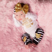 Baby Clothes Set 2016 Cute Baby Girls Bow Headband Long Sleeve Baby Romper Striped Kneepad Suit