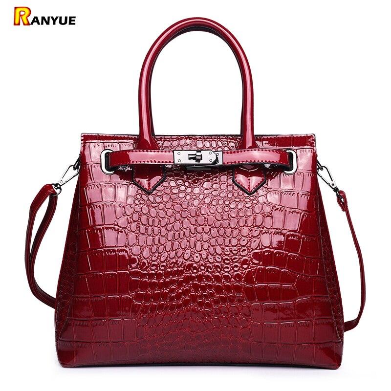 Luxury Designer Handbags High Quality Patent Leather Tote Bag Woman Shoulder Bags Famous Brands Handbag With Lock Crocodile Sac