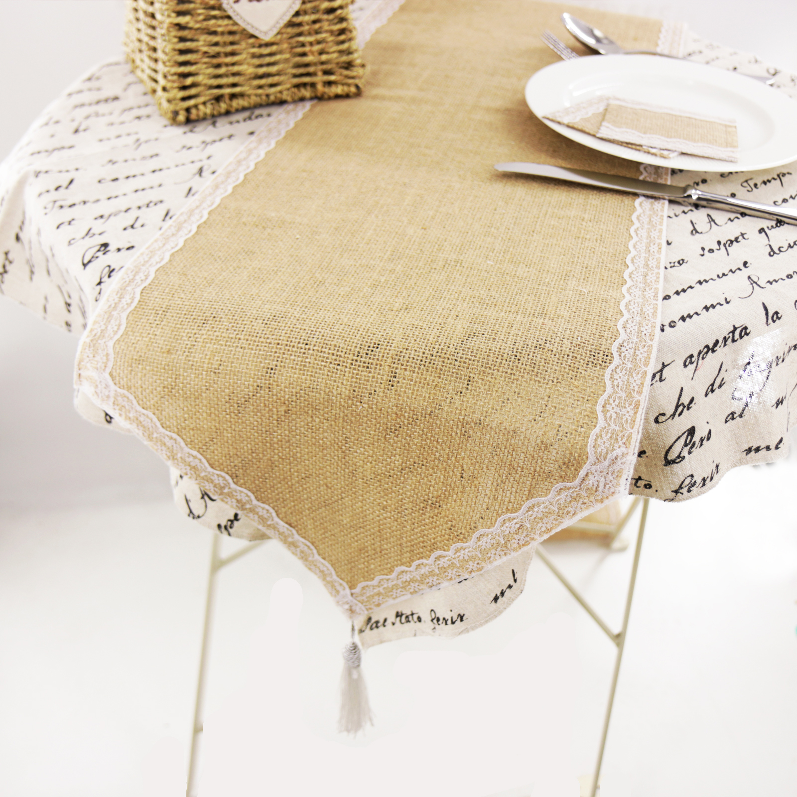 Vintage Lace Burlap Table Runner Lace Placemat Hessian Jute Country Party Imitated Linen Tablecloth Wedding Banquet Home Decor
