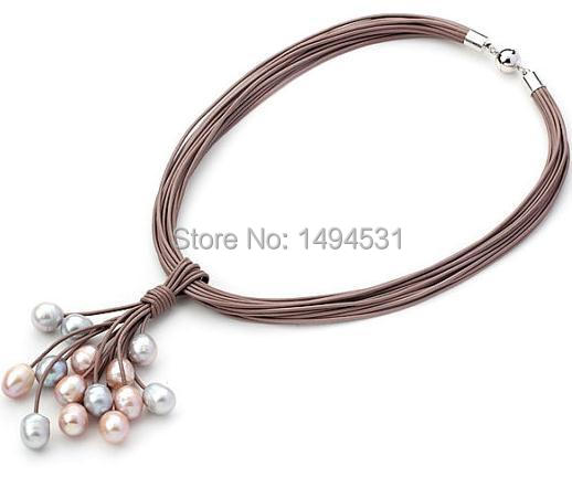 Wholesale Pearl Jewelry Brown Leather Necklace Multi-Strand Multi-Color Freshwater Pearl Necklace - Handmade Jewelry - XZN138Wholesale Pearl Jewelry Brown Leather Necklace Multi-Strand Multi-Color Freshwater Pearl Necklace - Handmade Jewelry - XZN138