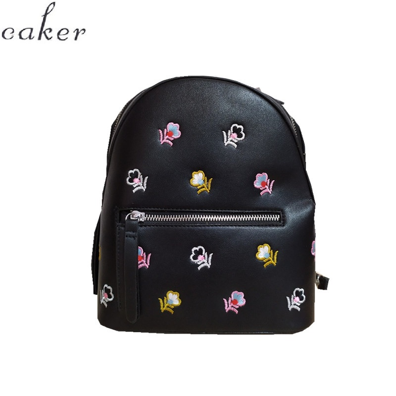 Caker Brand 2019 Women Embroidery Flower colorful Black PU Leather Backpack Fashion Backpacks