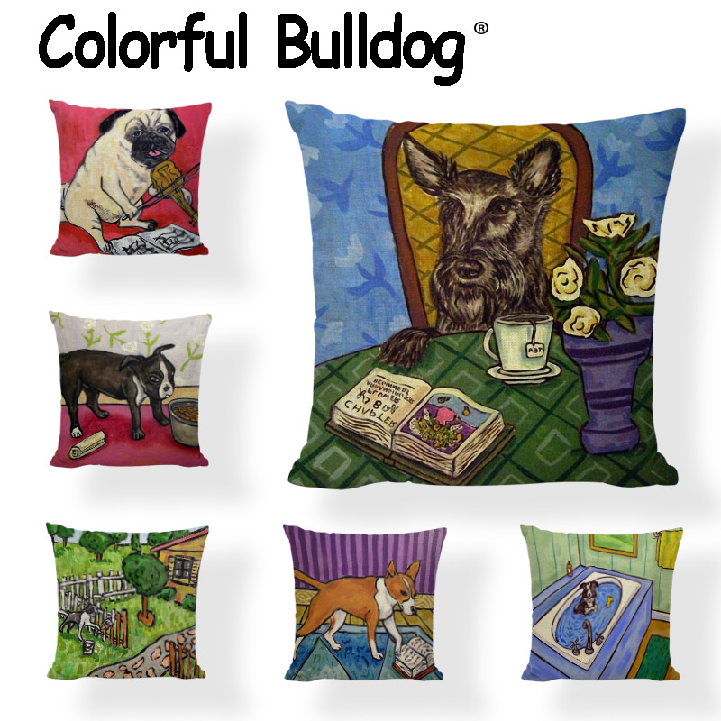 Excellent Us 2 96 19 Off Wholesale Cushion Covers 45 45Cm Poodle Cattle Schnauzer Pug Violin Huskies Car Living Room Bean Bag Sofa Decoration Pillowcover In Machost Co Dining Chair Design Ideas Machostcouk