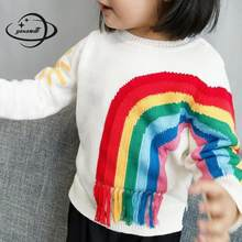 YAUAMDB kids sweaters 2018 winter knitwear 2-9Y boys girls pullover baby rainbow clothing O neck children warm clothes ly56(China)