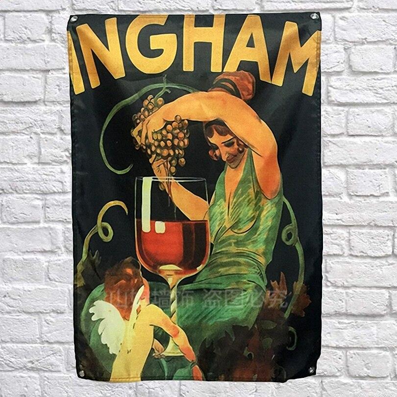 Adaptable Ingham Wijn Nordic Stijl Persoonlijkheid Creatieve Opknoping Banners Bar Wijnmakerij Biljart Hall Thuis Wall Decor Live Achtergrond Doek
