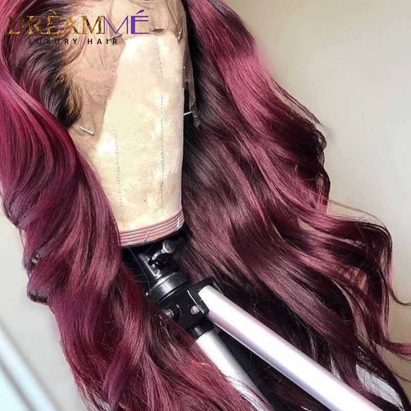 1B/99J Burgundy Red Ombre Menselijk Haar Pruiken PrePlucked Lace Front Water Wave Pruik Diepe Deel 13X6 braziliaanse Remy Pruik Voor Vrouwen Zwart