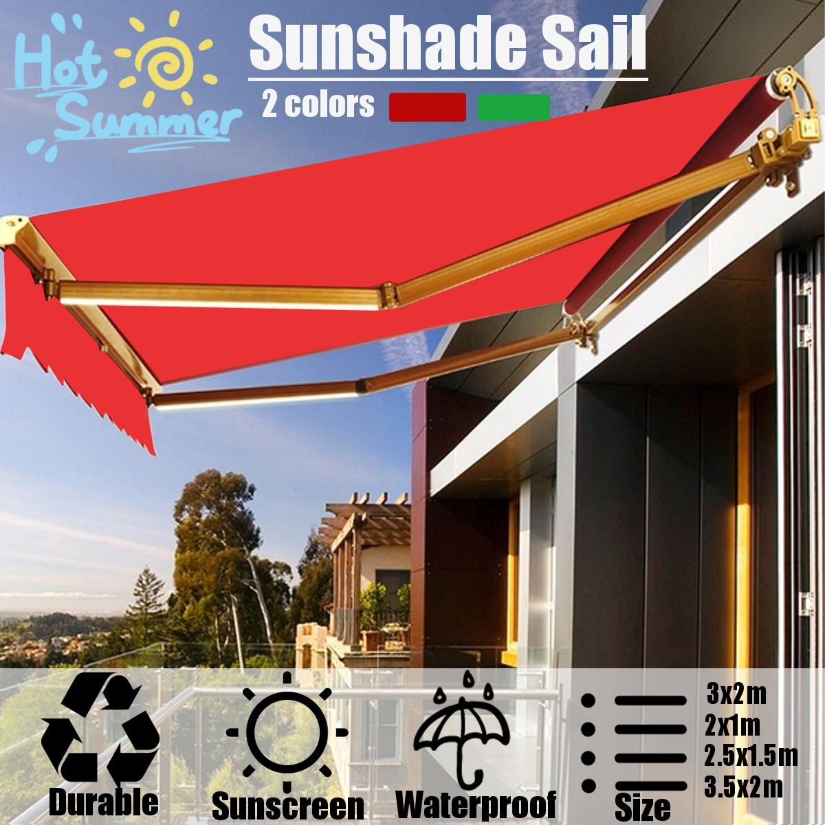 8 Types Sunshade Sail Shop Retractable Canopy Outdoor Garden Home Balcony Folding Waterproof Awning Cover Sun Shade Sail NEW