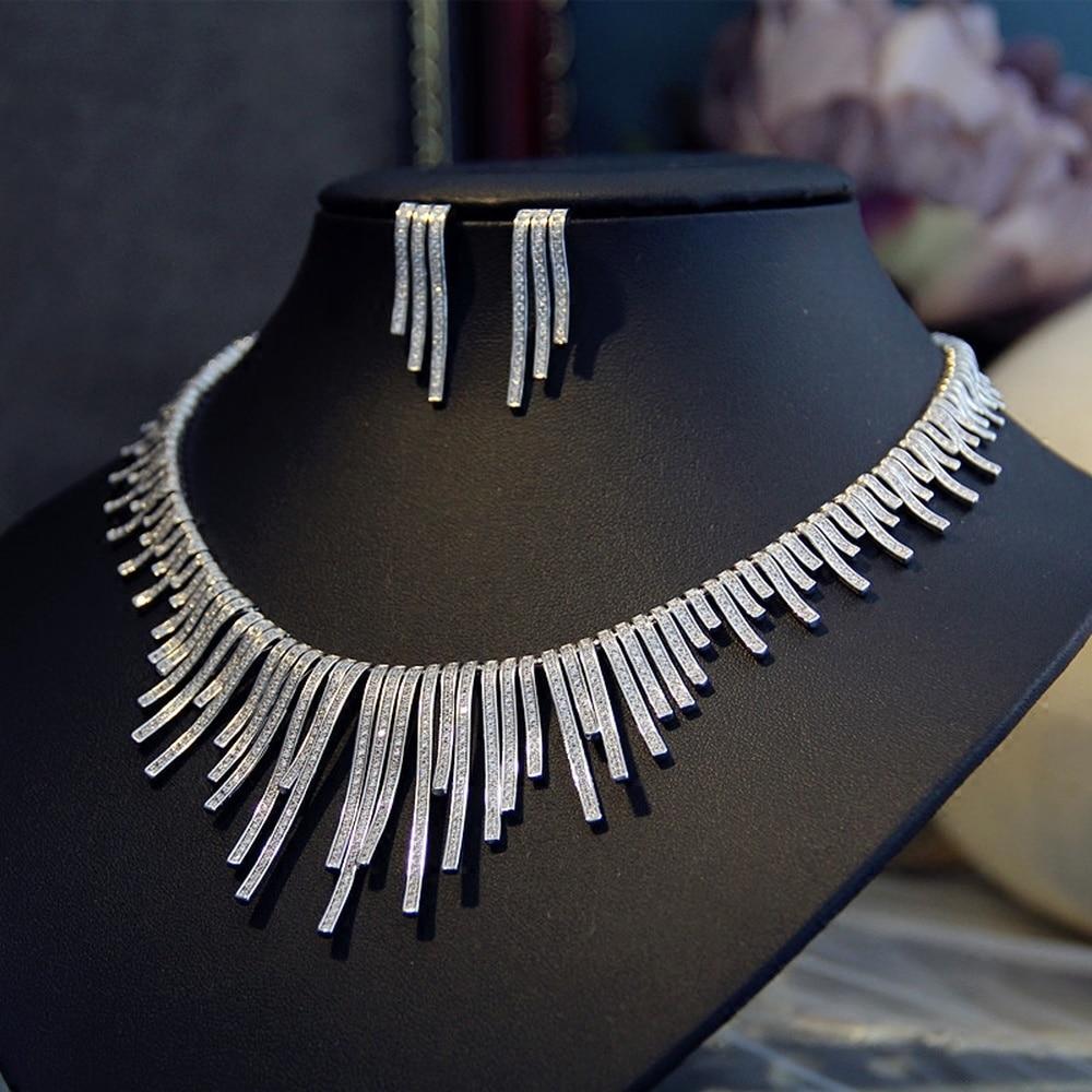 밝은 점화 플러그 큐빅 지르콘 귀걸이 목걸이 무거운 저녁 sst 웨딩 웨딩 드레스 액세서리-에서보석 세트부터 쥬얼리 및 액세서리 의  그룹 1
