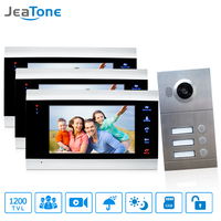 3 Apartments 7 Multi Apartment Video Door Phone System Video Intercom Doorbell System 1200 TVL Camera Touch Key for 3 Families