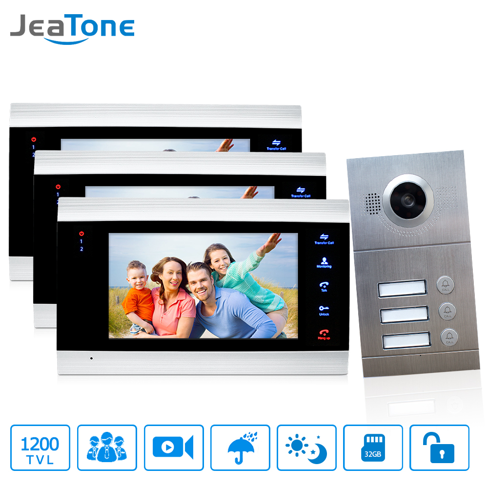 3 Apartments 7 Multi Apartment Video Door Phone System Video Intercom Doorbell System 1200 TVL Camera Touch Key for 3 Families dhl shipping v70c l multi apartments building video intercom system apartment audio door phone