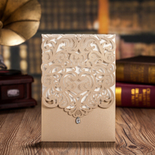 100 pcs,Vertical Gold Classic Style Wedding Invitations Cards Custom With Rhinestone & Laser Cut Flower,CW5010