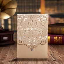 100 pcs,Vertical Gold Classic Style Wedding Invitations Cards Custom With Rhinestone & Laser Cut Flower,CW5010