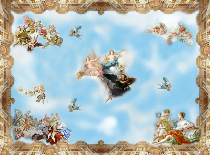 Beibehang desktop wall paper 3d murals top ceiling mural for Ceiling mural wallpaper