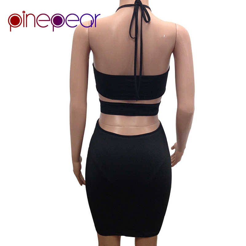 844f5510b0 PinePear 2019 Summer Women Fashion Sleeveless Sequins Dress Halter Sexy  Mesh See Through Clubwear Black Gold Short Party Dresses