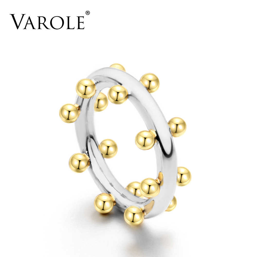 VAROLE Double Row Ball Arrangement Rings Gold Color Midi Ring 100% Copper Ring Knuckle Rings For Women anel Jewelry