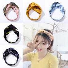 Cartoon Cross Knot Hairband Girl Cute Turban Elastic Headbands Head Wrap Hair Accessories for Women Fashion Headwear