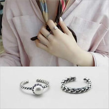 2017 Korean Custom Vintage Twist Ring With Simulated Pearl Beads Free Size Opening Finger Rings For Women Jewelry 2 pcs/set(China)